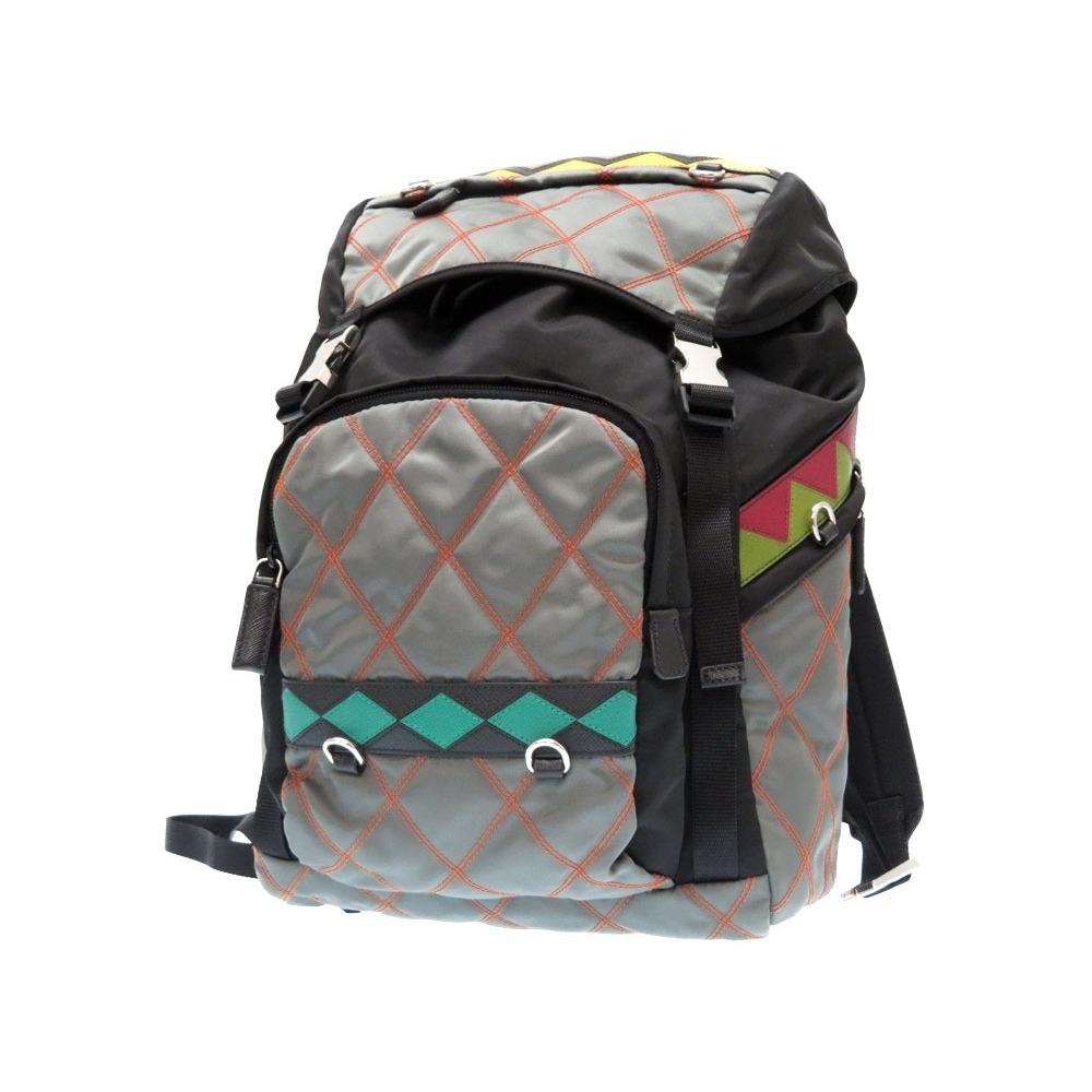 4b520b8e33a Prada Embellishment 2 Vz 135 Nylon Saffiano Leather Backpack Day Bag Gray  Black Mens 0381 Prads