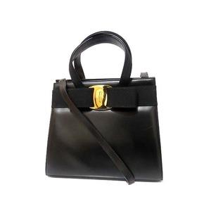 Salvatore Ferragamo Vala Ribbon Leather 2way Handbag Black 0106 Unisex