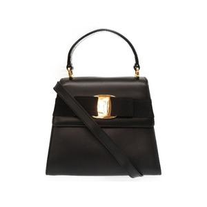 Salvatore Ferragamo Vala Ribbon Leather Black 2 Way Bag Handbag 0144