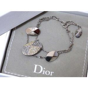 Christian Dior Swarovski Stone Silver Bracelet 0131 Unisex