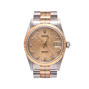 Used Rolex Datejust 68279g Bic Wg / Yg Pg 10p Diamond Champagne Computer Dial Women's Watch Automatic