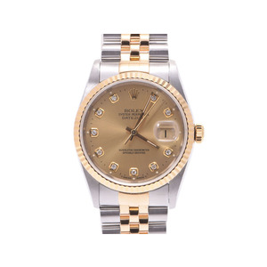 Used Rolex Datejust 16233g W No. Ss / Yg 11p Diamond Champagne Dial International Service Warranty Men's Watch