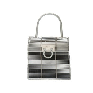 Salvatore Ferragamo Gancini Aluminum Silver Do-21 8840 Handbag Bag 0567