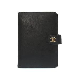 Chanel Coco Mark Notebook Cover Leather Black Agenda 0427