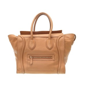 Celine Luggage Mini Shopper Handbag Leather Brown 0435 Takashimaya Purchase Certificate Available