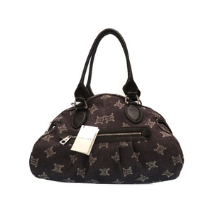 Celine Canvas Leather Tote Bag Navy Brown 0301