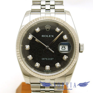 Rolex Datejust Computer Dial Face 10p Diamond Watch