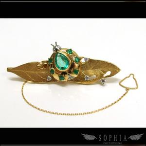 Emerald Diamond Tie Pin K18