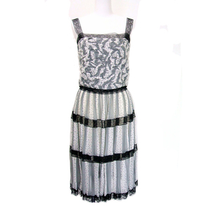 Chanel Ensemble Camisole & Pleated Skirt White X Gray Size 38