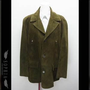 Hermes Mens Nubuck Half Coat Dark Green Size 50