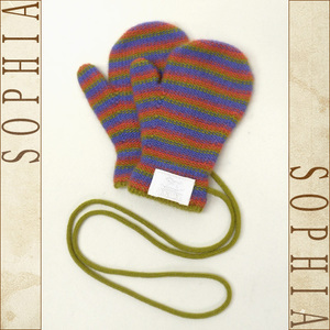 Hermes Baby Mittens Children's Gloves Multi Color Cashmere 100%