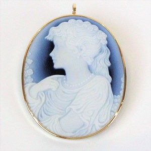 Non branded No-brand Cameo Brooch Agate Gold Frame K18yg 750 Female Pendant Top