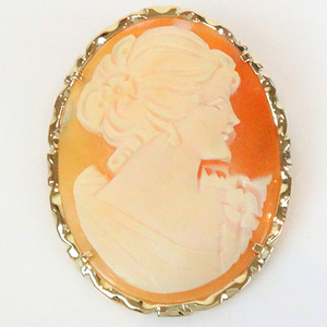 No-brand Cameo Brooch Shell Gold Frame K14yg 585 Pendant Top