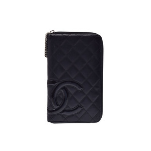 シャネル(Chanel) 中古 シャネル カンボンライン ラウンドファスナー長財布 ラムスキン 黒/黒 箱 CHANEL◇