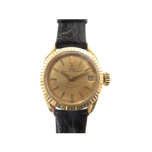 Tudor Gold Pure Princess Oyster Date 7981 Hand Winding Wristwatch 750 K18 Yg Antique 0219 Ladies'