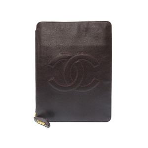 Chanel Caviar Skin Brown Decachoco Coco Mark Round Zipper Notebook Cover Agenda 0094