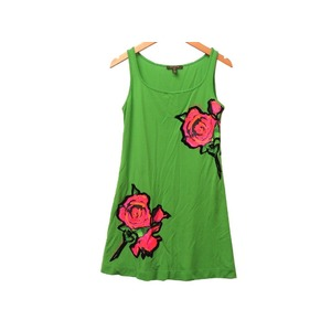 Louis Vuitton Rose Roses One Piece Rayon Green Size 36 Lv 0238 Women's