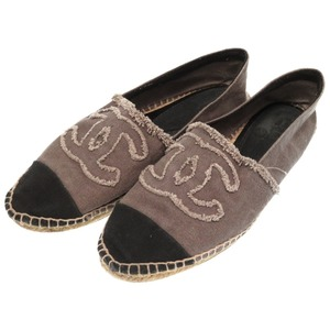 Chanel Espadrilles Decachoko Coco Mark Canvas Gray Shoes 40 Size 0226