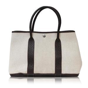 Hermes Garden Party Pm Natural × Dark Brown □ H Engraved Handbag Women's Free Shipping