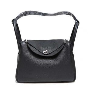 Hermes Lindy 30 Triillon Clemence Black × Caramel A Ladies' Handbag Women's Free Shipping