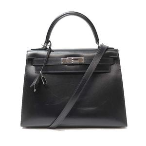 Hermes Kelly 28 Box Calf Black Handbag Women's Free Shipping