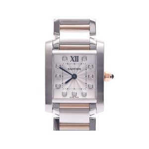 Used Cartier Tank Francaise Sm Ss Pg 11p Diamond Silver Dial ◇