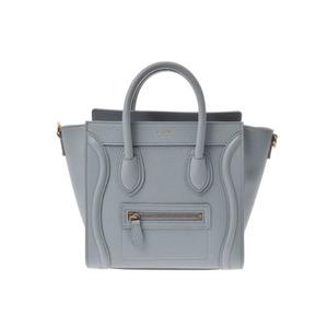 Used Celine Luggage Nano Shopper Calf Blue New ◇