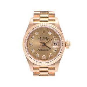 中古 ロレックス デイトジャスト69178G W番 YG シャンパン文字盤 10Pダイヤ 箱 日ロレギャラ レディース  腕時計  ROLEX