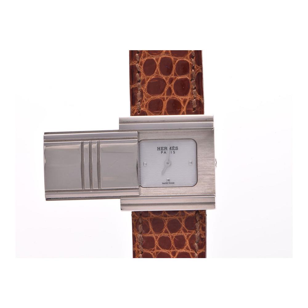 中古 エルメス グリザード GL1.290 WG/革 クオーツ 箱 ギャラ レディース  腕時計  HERMES