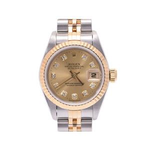 中古 ロレックス デイトジャスト 69173G YG/SS W番 シャンパン文字盤 10Pダイヤ レディース  腕時計  ROLEX