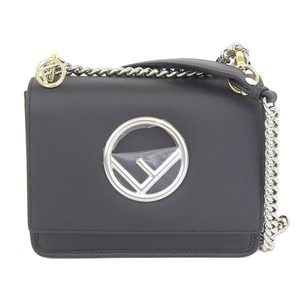 Fendi Cannyf Shoulder Bag Leather Black 8bt 286