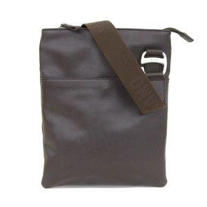 Salvatore Ferragamo Ferragamo Leather Shoulder Bag Slim Brown Dark