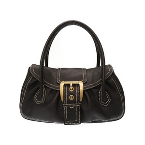 Celine Leather Black Handbag Department Store With Purchase Certificate 0378 Women's