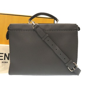 Fendi Celia Pekaboo 7va 406 Calf Leather Gray 2 Way Bag Briefcase 0097 Men's