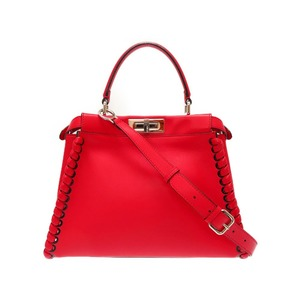 Fendi Peekaboo 2way Bag 8bn290 Handbag Calf Red Women's 0096