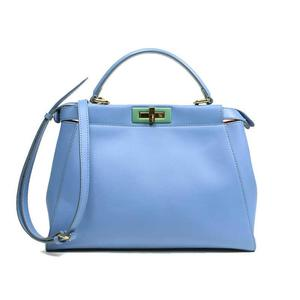 Fendi Peekaboo Regular 8bn226 37g Blue 2way Handbag Women's