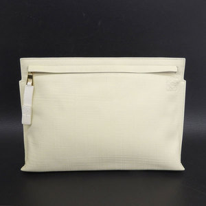 Loewe Loewe Leather Clutch Bag Cream