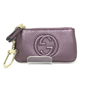Gucci (Gucci) Key Case Petty Soho Metallic Leather 353358 Purple Used S