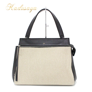 Celine Edge By Color Handbag Canvas Leather Black Beige