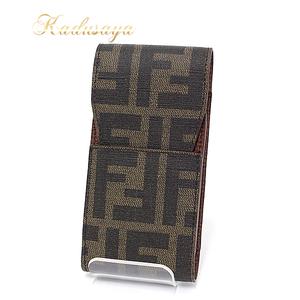 Fendi Zucca Handle Cigarette Case Brown Type Pvc Leather
