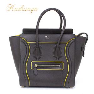 Celine Luggage Micro Brown Yellow Calf Handbag 177423 Aaa.18dt