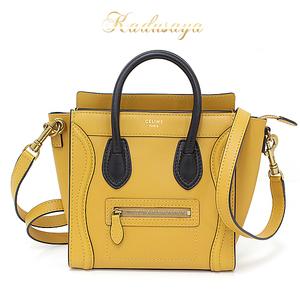 Celine Luggage Nano Ambra (Umbra) Calfskin 168243 Rsb.12 Ar Handbag Shoulder Bag