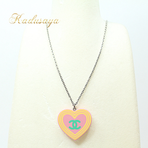 Chanel Coco Mark Heart Necklace Length 46.6 - 41.6 Cm (With Adjuster Chain) Plastic Brass Pink White Green Yellow