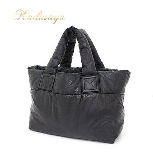 Chanel Coco Cocoon Nylon Small Tote Bag Leather Black A 47108