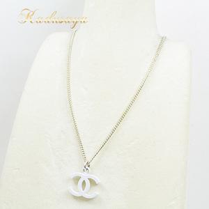 Chanel Coco Mark Necklace White Silver Lacquer Metal 04c