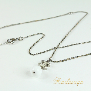 Chanel Swing White Ball Necklace Metal Resin 73 43.5 Cm (With Adjuster Kang) Coco Mark