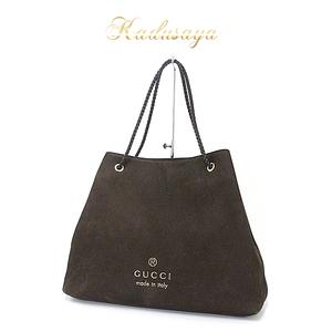 Gucci Leather Tote Bag Dark Brown 380118