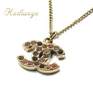 Chanel Coco Mark Rhinestone Necklace Gp