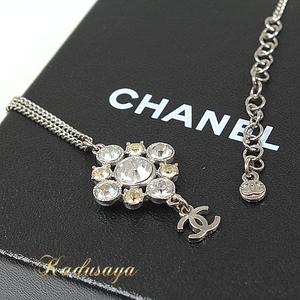 Chanel Rhinestone Necklace Coco Mark A 37251 Diamonds Silver Clear Light Yellow 48 42 Cm