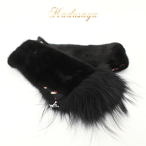 Louis Vuitton Fur Attached Mink Muffler Black W13 × H135cm 90% Fox 10% Silk 100% Heart